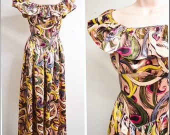 1940s cc41 Abstract swirl print satin full length evening dress / Double Elevens yellow pink purple quest ruffle sleeve long gown - XS S