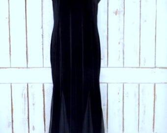 Vintage 90s black stretch velour velvet sheer net panel formal evening maxi dress/long black velvet sleeveless dress/Ronni Nicole/16