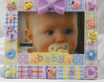 Children's Colorful Plaid Multicolor Baby Picture Frame, Baby Gift, Shower Gift