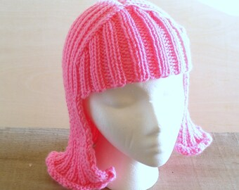 Bright Pink Hat Hair knit wig Neon Pink Anime Hair