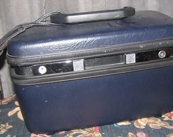 Vintage 1970's Blue/Black Samsonite Train Case Retro Luggage