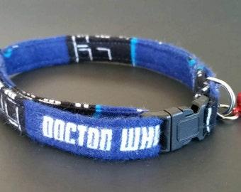 """Dr. Who dog collar, blue collar, fleece collar, small dog collar, dog collar, puppy collar, fits 9-13"""" inch neck, 3/8"""" collar,"""