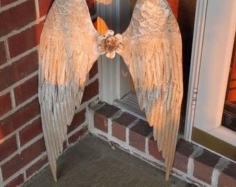 Angel Wings wall decor,rustic metal angel wings, large angel wings wall hanging, handpainted angel wings metal feather-like iron wings gold