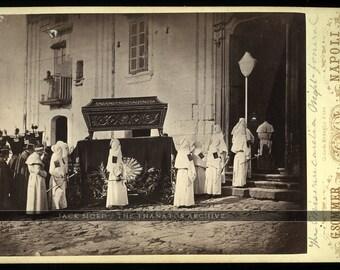 Rare 1870s Night Funeral Cabinet Card - Italian MONKS