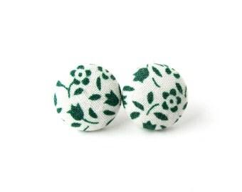 Present for her - Dark green fabric earrings - white button earrings - tiny stud earrings flower vintage look