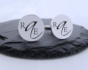 Personalized Cufflinks Engraved Cufflinks Round Non-traditional Monogram Wedding Gifts for Him Groom Gift Jewelry for Men Gift Anniversary