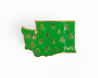 Washington Enamel Pin - Washington State Trees Pin