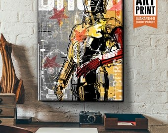 Star Wars Canvas - C3PO - Star Wars Patent Art, large Canvas Art Print, fan art illustration, Star Wars gift, Star Wars canvas art, Pop Art