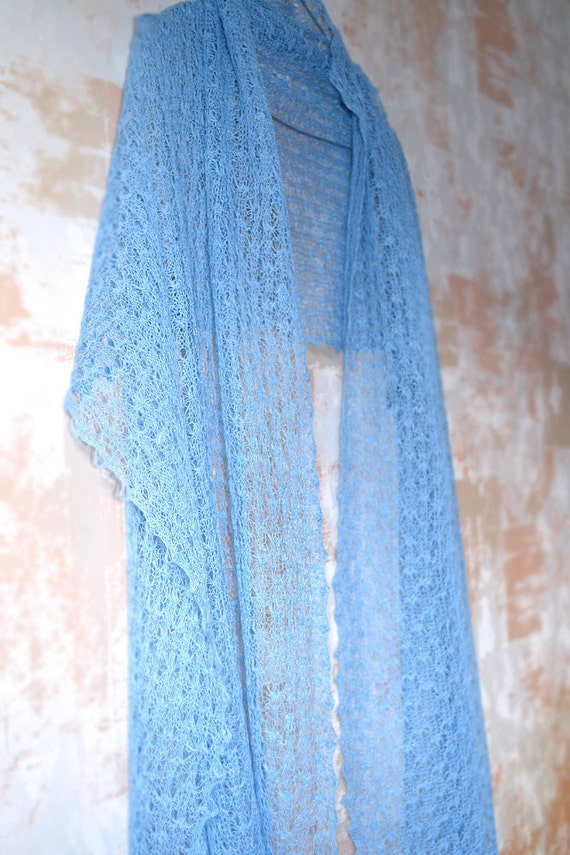 Sky Blue Linen Scarf  Wedding Shawl Summer Scarf Gauzy Wrap Knitted Shawl  Lace Scarf