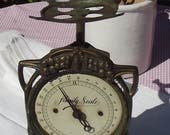 Vintage Antique Family Scales Kitchen weighing machine Art Nouveau 1920s cast iron