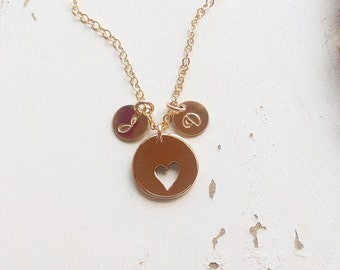 Mothers Heart & Initial Necklace, Perfect Gift for Her for Valentines Day! New Bride Gift, available in Gold Fill and Sterling Silver.