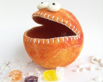 Felt Candy Bowl, Soft Container, Orange Monster
