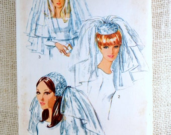 Vintage sewing pattern Simplicity 6846 1970s wedding Veil Headpiece One size Hat Retro Uncut Tulle