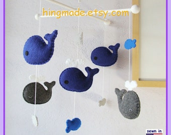 Baby Mobile, Baby Crib Mobile, Whale Mobile, Nursery Decor, Whale Bedding - Royal Blue Gray Neon Blue