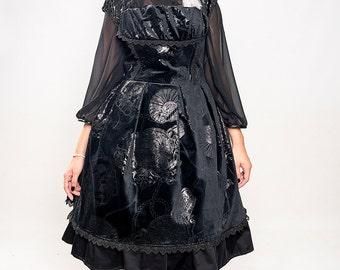Elegant Gothic Lolita Velvet JSK, Steampunk, Goth Dress,  Mourning, Ready to ship