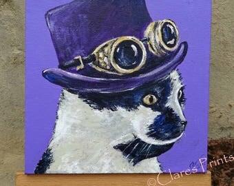 Purple Cat Steampunk Art Original Art Acrylic Painting on Canvas OOAK
