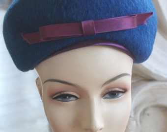 Vintage 1960s Blue Mohair Bubble Hat NOS New Old Stock