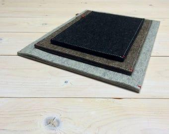 "12"" MACBOOK SLEEVE case felt - Grey Black Brown Handmade woolfelt ecofabric Dutch Design"