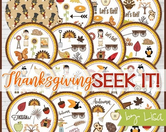 Thanksgiving SEEK IT Match Game, Thanksgiving Printables, Party, Family Game Night, Matching Game Cards -Printable Instant Download by Lisa