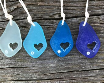 Carved Heart with Crystal Sea Glass Necklace by Wave of Life™