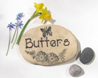 Pet Memorial Garden Stone. Cat, Dog Grave Marker, Custom engraved pet memorial. Pet's name. Original designs / butterflies, heart, flowers