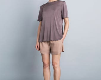 Semi sheer purple t shirt, loose fit blouse, summer top, crew neck sports shirt, shiny top, eggplant shirt, short sleeves day blouse