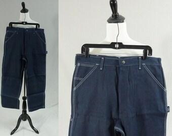 "80s Men's Jeans - Sears Roebucks Work Jeans - Unworn with Tags - Dark Blue Denim Carpenter Pants - 34x30 - 34"" waist x 30"" length"