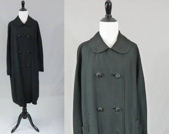 50s Black Coat - Double Breasted - Braided Trim - Rounded Collar - Vintage 1950s - XL