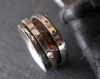Size 6 1/4 Unique Wedding Band Spinner Ring Oxidized Silver Ring Wedding Band Double Spinner Ring Wedding Ring Sterling Silver Ring Hot Rox