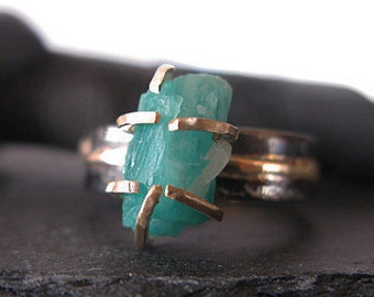 Natural Columbian Emerald Ring Size 5 Rough Emerald Ring Raw Emerald Ring Rough Gemstone Ring Unique Engagement Ring Anniversary May Bir