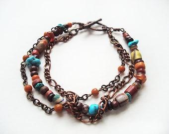 Southwestern Bracelet, three strand bracelet, beaded chain link jewelry, boho style jewellery