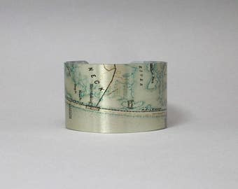 Point Pleasant Mantolocking New Jersey Shore Map Cuff Bracelet Custom Gift for Men or Women