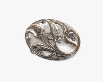 Vintage 40s SILVER BROOCH / 1940s Large Sterling Silver Danecraft Signed Peace Lily Floral Flower PIN