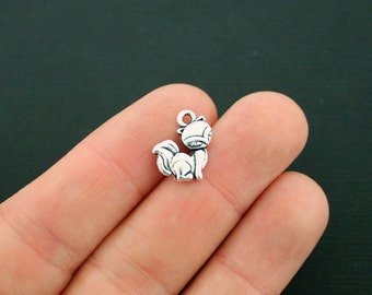 12 Fox Charms Antique Silver Tone 2 Sided - SC4230