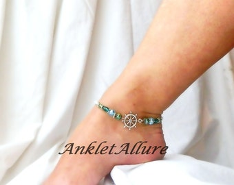 Ships Wheel Anklet Cruise Jewelry Nautical Body Jewerly Beach Vacation Anklet Sailing Anklet