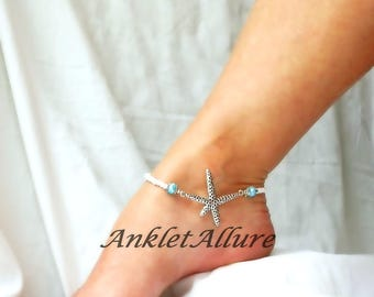 Starfish Anklet Blue Beach Anklet Cruise Ankle Bracelet Body Jewelry