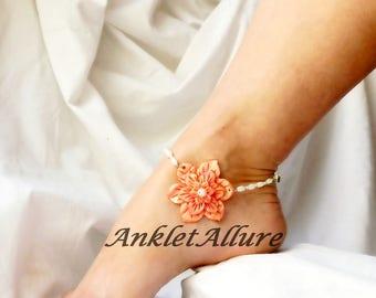 Beach Anklet Coral Flower Ankle Bracelet Flower Body Jewelry Fetish Foot Jewelry