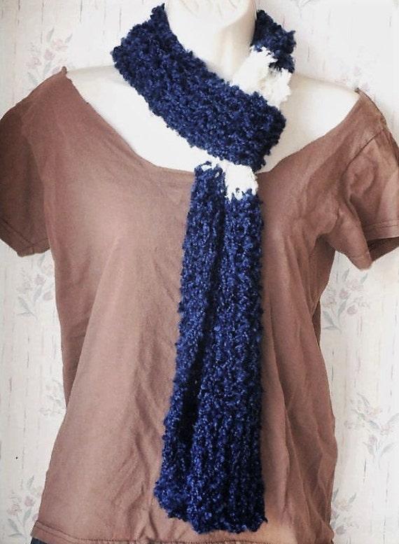 knit blue & white color block scarf by Peace Stitch Studio