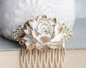 White and Gold Rose Comb Big Flower Hair Comb Wedding Hair Accessories Modern Romantic Glam Bridal Hair Piece Cabbage Rose Gold Filigree