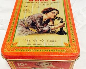 Vintage Jello Tin Box Americana Advertising Tin Orange