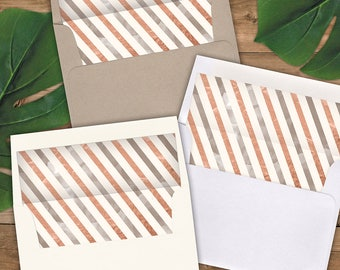 Envelope Liners A2 Size - Square Flap - Rose Gold and Pewter Airmail Stripes - Pack of 25