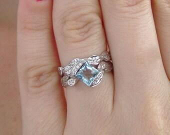 Wedding Set, Leaf Ring Wedding Set, Aquamarine Leaf Engagement Ring, Leaf Ring Set, Leaf  Ring Set, Engagement Leaf Ring Set, Gold Leaf Ring