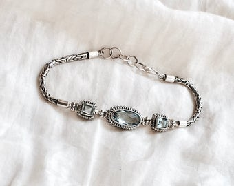 Sterling Gemstone Bracelet. Blue aquamarine london blue topaz bali inspired silver rope three stone crystal frozen bridal jewelry ooak
