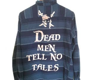 """Pirates of the Caribbean Shirt, Navy Blue Flannel Stripes. """"Dead men tell no tales"""" pirate Disney movie skull quote shirt clothing graphic"""
