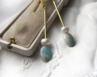 Modern earrings. Long dangle earrings . Simple earring. Geometric . Mint green natural stone. Gold mint jewelry. Everyday amazonite earrings