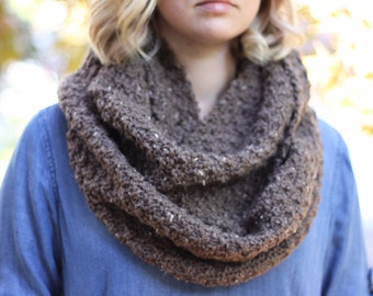 Brown Flecked Speckled Textured Infinity Scarf