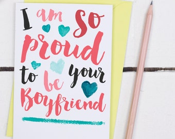 So Proud To Be Your Boyfriend Card - Anniversary card - Anniversary Card for Girlfriend - Card for Anniversary - Love Anniversary Card