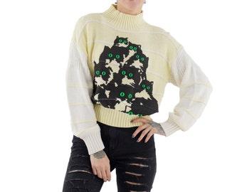 Yellow Crazy Kitty Sweater