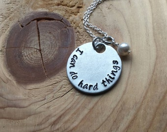 "Hand-Stamped Inspiration Necklace- ""I can do hard things"" with an accent bead of your choice- Motivational Jewelry"