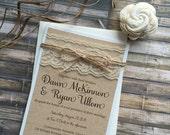 Rustic Wedding Invitation, Vintage Wedding Invitation, Lace Wedding Invitations, Barn Wedding Invitation, Country Wedding Invitations